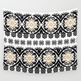 Black white faux gold glitter hand painted floral aztec Wall Tapestry