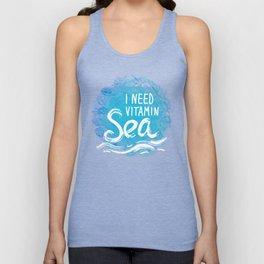 i need vitamin sea White text on blue background, Summer sea shells, molluscs Unisex Tank Top