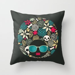 Black head. Throw Pillow