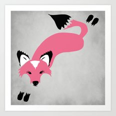 Foxier Roxy (Pink/Gray color option) Art Print