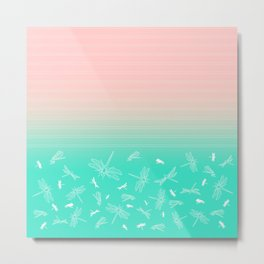 Dragonfly, Pink and Green Blush Metal Print