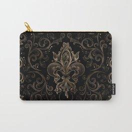 Fleur-de-lis ornament Black and Gold Carry-All Pouch