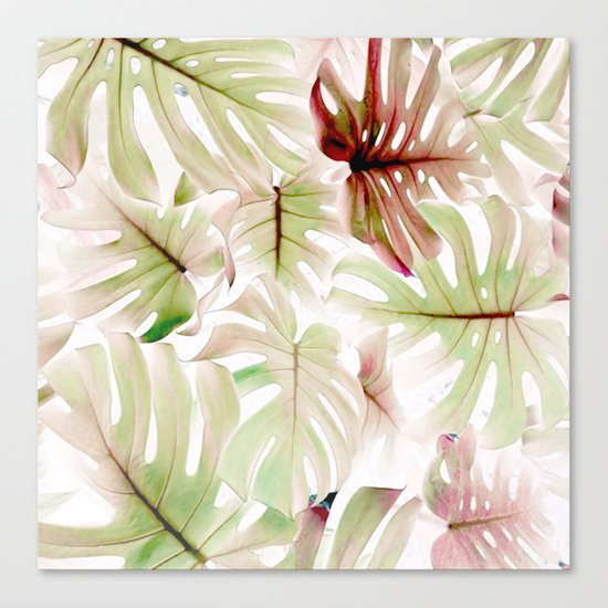 Monstera Pastel  Canvas Print