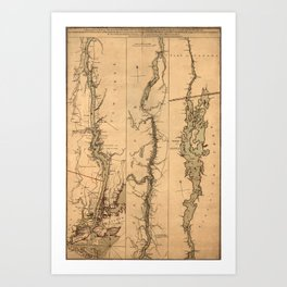 Map Of The Hudson River 1777 Art Print