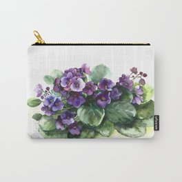 Senpolia viola violet flowers watercolor Carry-All Pouch