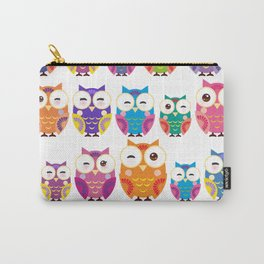 pattern - bright colorful owls on white background Tasche