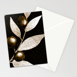Bronze Berries And Leaves Watercolor Pattern On Black Stationery Cards
