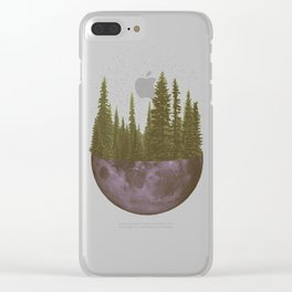 Pine Forest Moon Clear iPhone Case