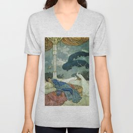 Princess Lady Yang at Midnight with white Peacocks portrait painting by Edmund Dulac Unisex V-Neck