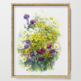 Watercolor meadow flowers Serving Tray