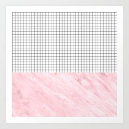 Modern Pink Granite on Grid Art Print