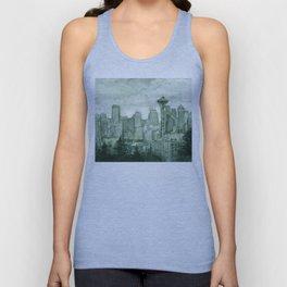 Seattle Skyline Watercolor Space Needle Emerald City 12th Man Art Unisex Tank Top