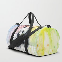 Rainbow Pandas Watercolor Mom and Baby Panda Nursery Art Duffle Bag