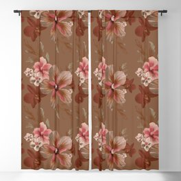 Mocha Tropical Flora Blackout Curtain
