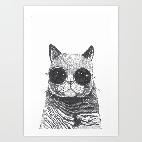 cool cat art print by polkip society6 - Cool Pictures To Print