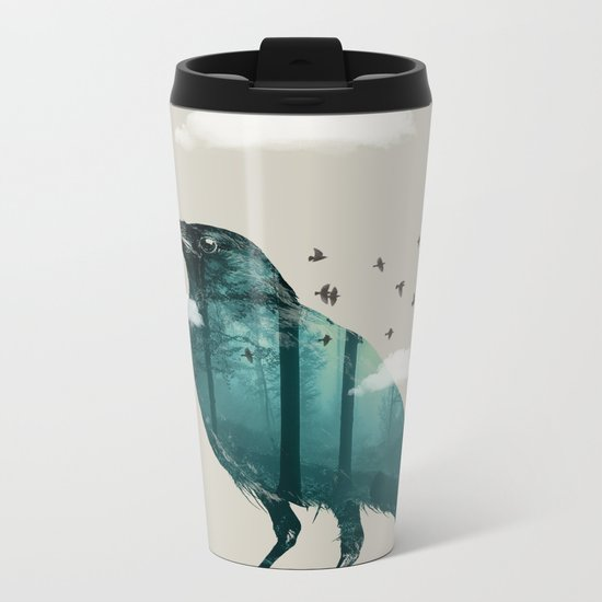 Teal Raven Metal Travel Mug