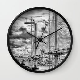 Queensferry Crossing Under Construcion in the Clouds Wall Clock
