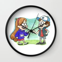 Mystery Twins by Maria Piedra Wall Clock