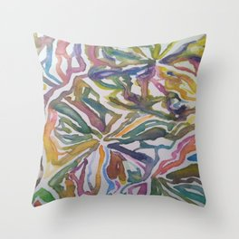 Abstract Flowers Watercolor Painting Throw Pillow