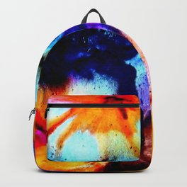 Colorful Abstract Flower Painting Orange Purple Black Backpack