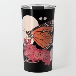 Monarch Butterfly with flowers butterfly art Travel Mug