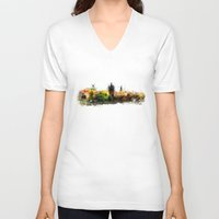 prague V-neck T-shirts featuring Prague panorame by jbjart