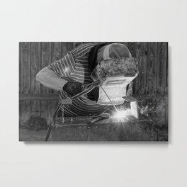 Welder working Metal Print