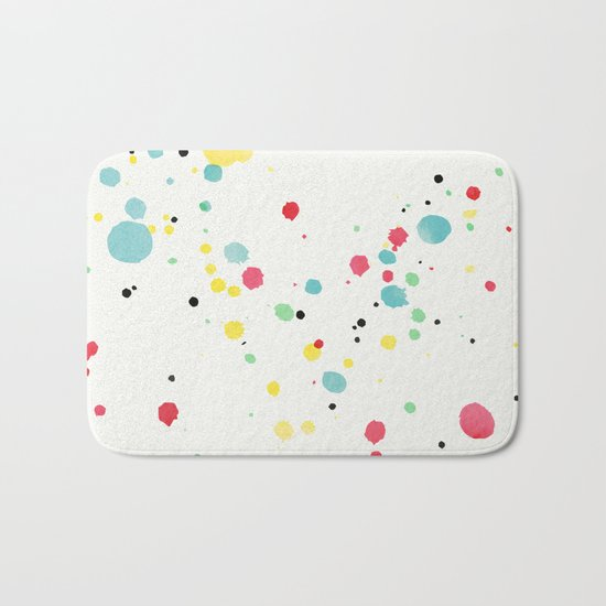 Watercolor splatters on white leather Bath Mat