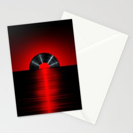 Vinyl sunset red Stationery Cards