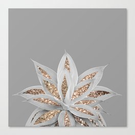 Gray Agave with Gold Glitter #1 #shiny #tropical #decor #art #society6 Canvas Print
