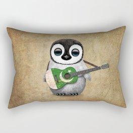 Baby Penguin Playing Pakistani Flag Acoustic Guitar Rectangular Pillow