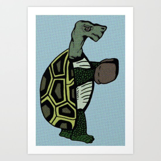 Pugilistic Painted Turtle Art Print