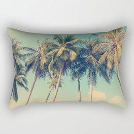 ALOHA - vintage tropical palm trees on the beach Rectangular Pillow