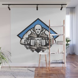 Strongman With Dumbbell In Chains Wall Mural