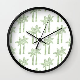 Palm Tree Pattern Nile Green 3 Wall Clock