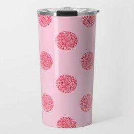 Pink Glitter Polka Dot Pattern Travel Mug