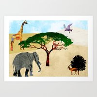 safari Art Prints featuring Safari by Design4u Studio