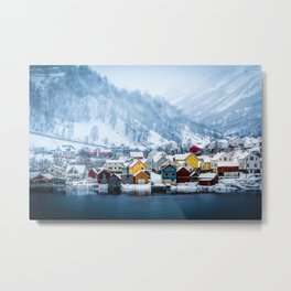 A Small Town in Norwegian Fjords Metal Print