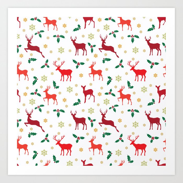 christmas snowflake reindeer and mistletoe wallpaper pattern on white prints