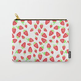 Summer bright red hand painted watercolor strawberries fruits pattern Carry-All Pouch