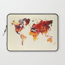world map 89 art red Laptop Sleeve