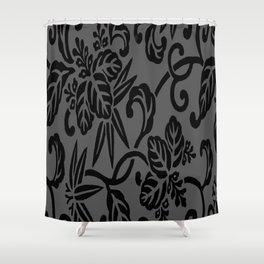 Slate Gray & Black Japanese Leaf Pattern Shower Curtain