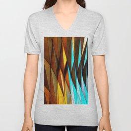 3D gradient Orange and blue triangles geometric pattern Unisex V-Neck