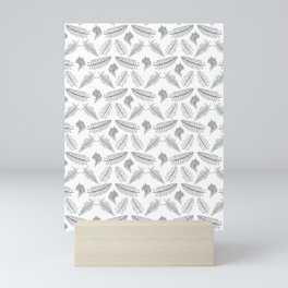 Black and White Fern Illustrated Print Mini Art Print