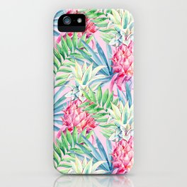Pineapple & watercolor leaves iPhone Case