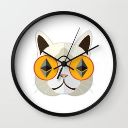 Ethereum Cat Hipster Wall Clock