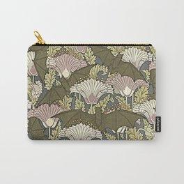Burgundy Trimmed Art  Nouveau Bats & Poppy Patterns Carry-All Pouch