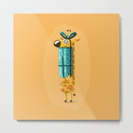 Giraffe Birthday Metal Print