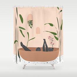 Summer garden and friendship illustration Shower Curtain