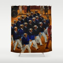 Classical African American Landscape 'Elks Marching' by Malvin Gray Johnson Shower Curtain